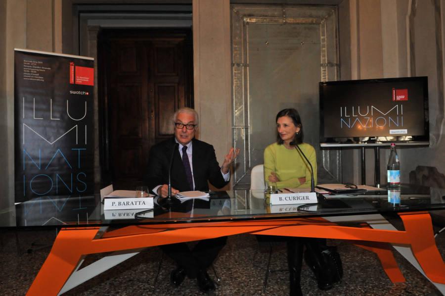 Paolo Baratta e Beatrice Curiger alla conferenza stampa di chiusura della 54ma Biennale di Venezia