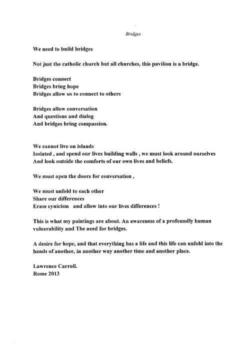 La poesia composta da Lawrence Carroll sul treno che lo portava alla conferenza stampa di presentazione del Padiglione della Santa Sede alla Biennale