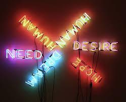 Human/Need/Desire. Neon sculpture by Bruce Nauman (1983) CC