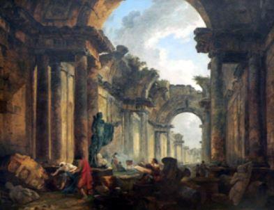 Hubert Robert, vista immaginaria della Grande Galleria del Louvre, 1796