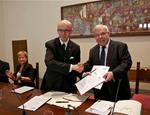 La firma del Protocollo d'intesa con Claudio Ricci e Gabriello Mancini