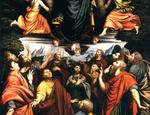 Particolare dopo il restauro della «Madonna in gloria e santi» di Lorenzo Lotto